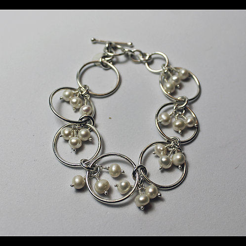 Heavy Pearl and Silver Bracelet
