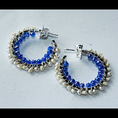 hoop earrings with blue crystals and pearld