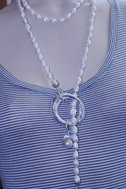 Pearl Lariat with large silver ring and large baroque pearl