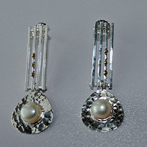 two tone drop earrings with brass accents and freshwater pearl