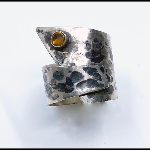 Patina sterling silver ring with citrine