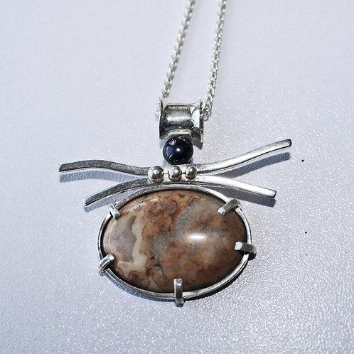 Jasper and black pearl pendant