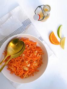 Salade de carottes, pommes vertes et amandes effilées