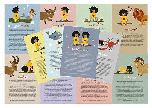 Kinderyoga-Sternzeichen-Karten / 12er Set