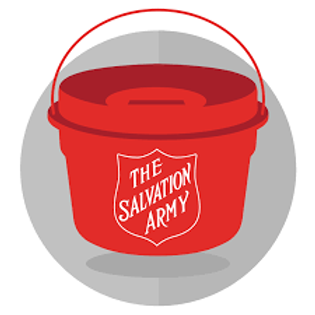 Salvation army bucket with logo