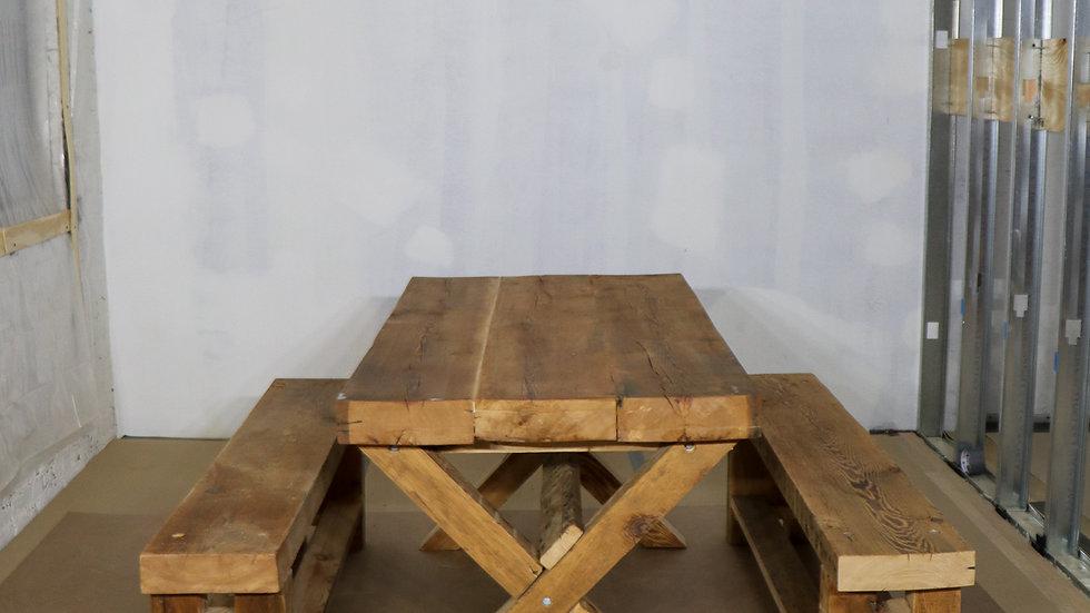 RUSTIC INTERIOR-EXTERIOR DINING TABLE SET