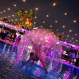 bubble belle, giant bubble, contortio, dreamsphere, human bubble, waking on water, event entertainment, gold coast entertainment, corporate entertainment, pool party, gold coast events,