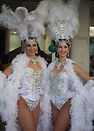 Class Act Creative, showgirls, dancers, event entertainment, roving artists, white showgirl costume, feather headdress, Gold Coast, Brisbane, Hair Art Boutique, salon opening,roving entertainment, Gold Coast events, entertainment agency Gold Coast, dancers, stage shows, dance shows, character performers, entertainers Gold Coast, entertainers Brisbane, class act showgirls