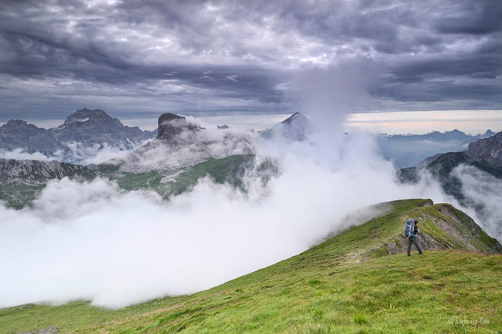Salendo alla cima del Corvo Alto di Mondeval, Sorapis, Becco di Mezzodì, Antelao