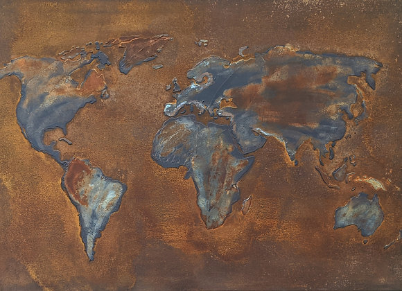 Abstract Rust Art World Map