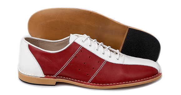 Delicious Junction Red and White Bowling Shoes