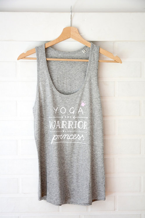 YOGA WARRIOR PRINCESS Heather Grey Organic Yoga Top