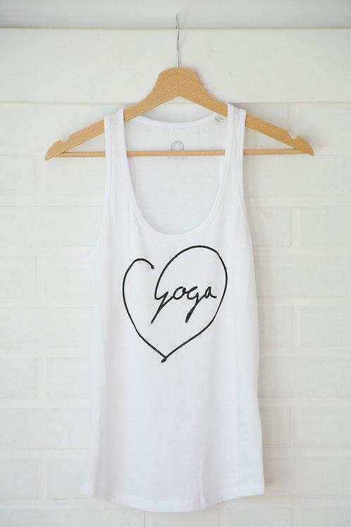 YOGA LOVE WHITE Organic Yoga Top