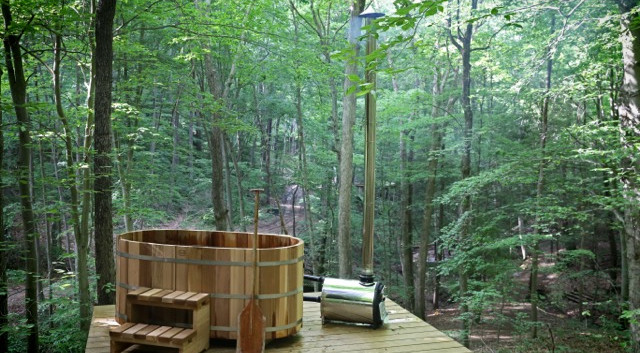 Relaxing views of the Hocking Hills canopy | Hocking Hills Treehouse Cabins
