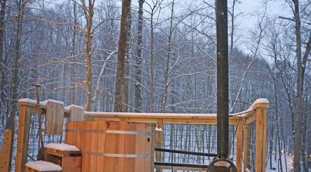 Soak away in a wood fired hot tub | Hocking Hills Treehouse Cabins
