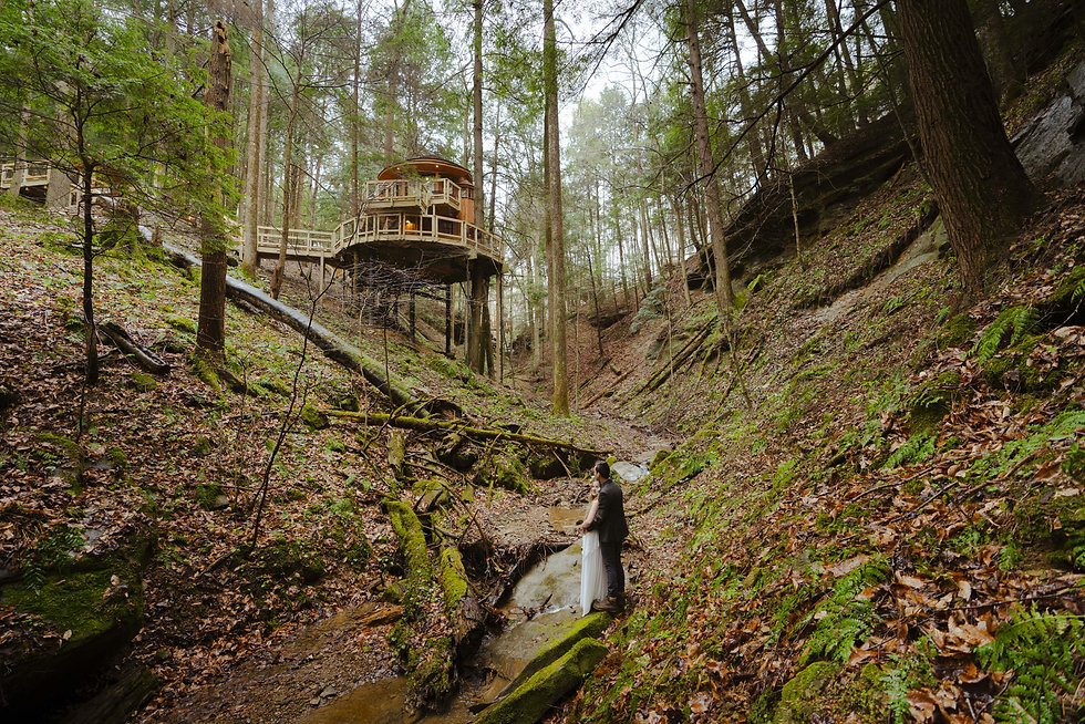 Micro wedding at Hocking Hills Treehouse Cabins