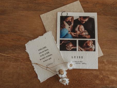 Teilt eure Freude über die Geburt eures Kindes mit Geburtskarten - Kooperation mit heylittlegreen