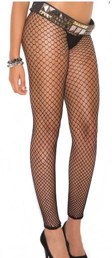 Black Fencenet Footless Pantyhose