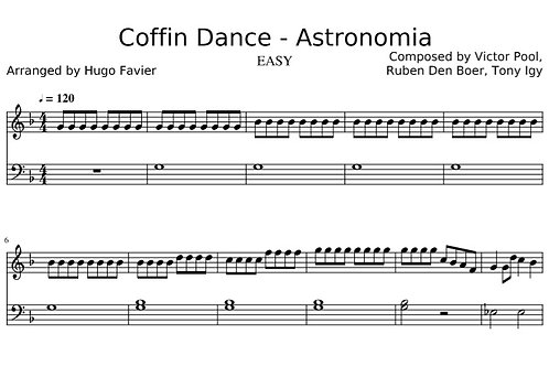 Coffin Dance - Meme Song (Astronomia) EASY (pdf)