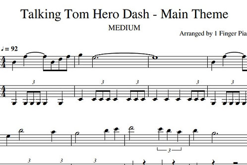 Talking Tom Hero Dash - Main Theme - EASY (sheet music)