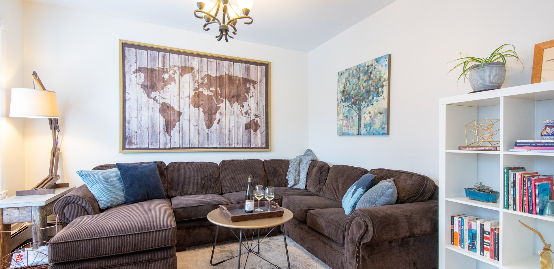 Living room with big flat screen tv and netflix television