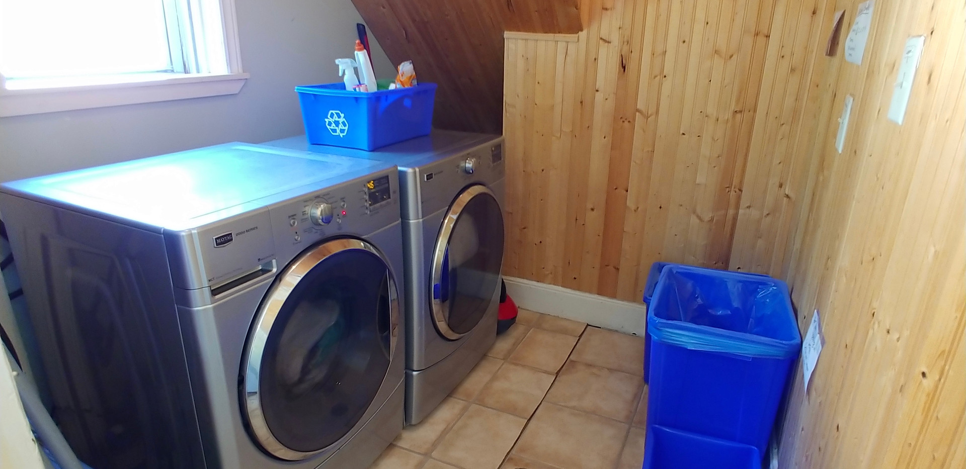 New large capacity laundry machines on main floor.  Back deck also has a clothes line.
