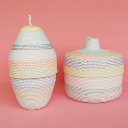 100 % cotton rope basket , with colorful