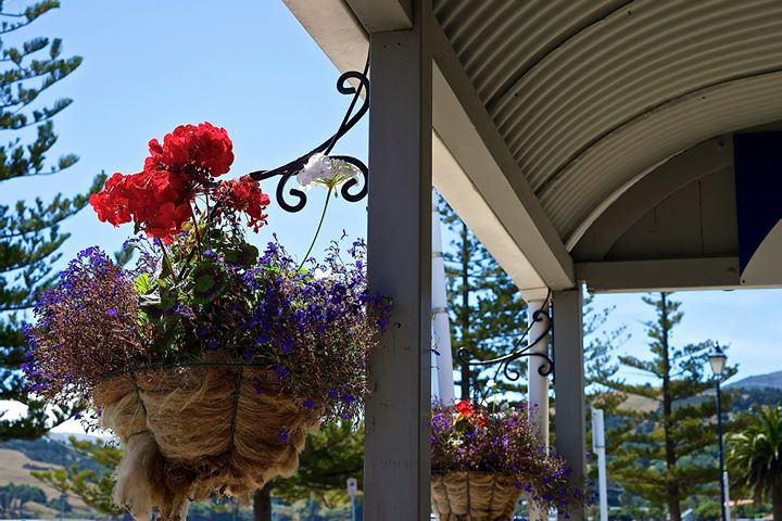 A flower decoration, Akaroa, South Island, New Zealand