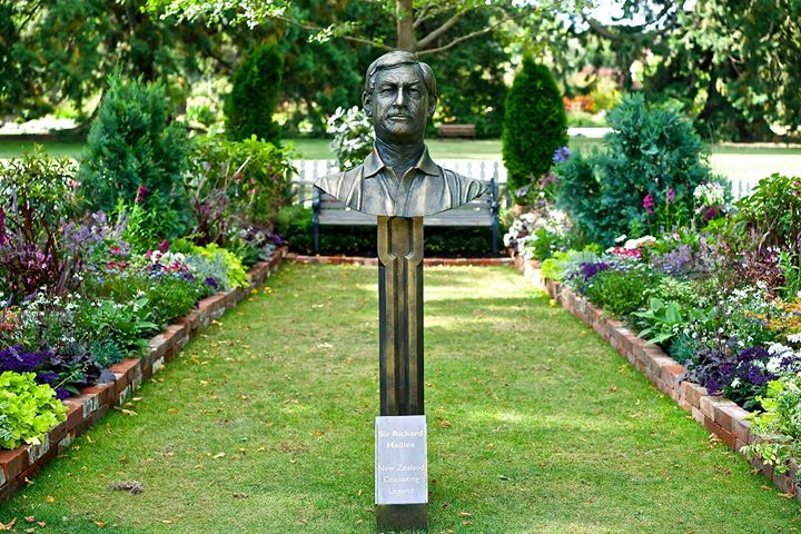 Bust of famous cricketer in park