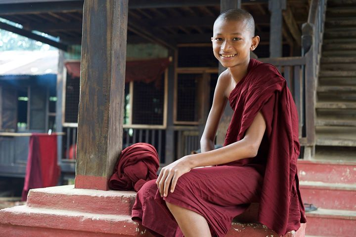 A young Buddhist Monk at the Monastery in Bago, Myanmar
