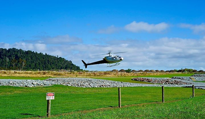 The helicopter which takes you to the Glacier 'Franz Josef', West Coast