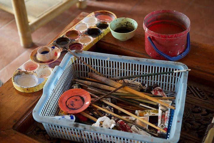 Jati's palette at his studio, Ubud, Bali