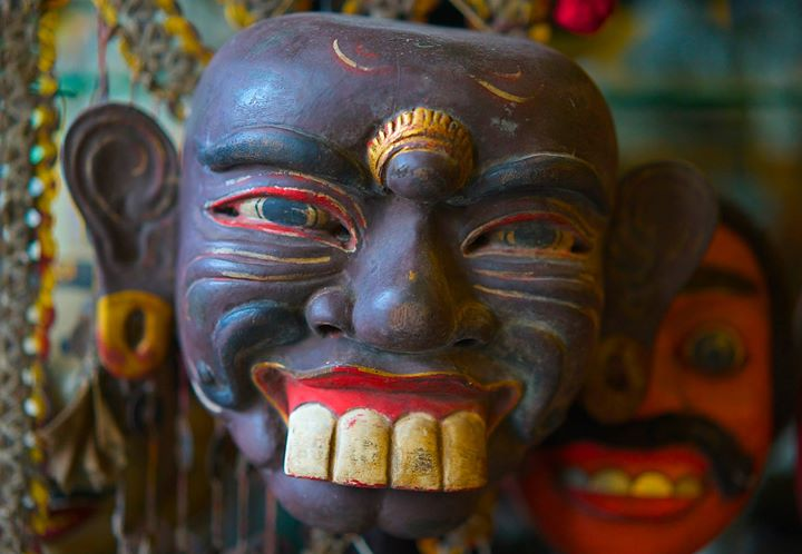 Mask of Jero Gede (husband) at The Tama Gallery, Ubud, Bali