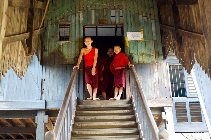 Young Monks at The Buddhist Monastery in Bago, Myanmar
