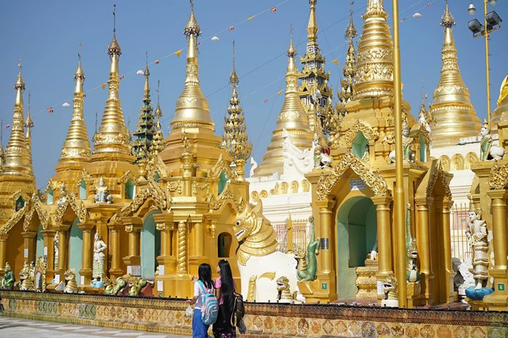 Shrines at The Shwedagon Pagoda, Yangon, Myanmar