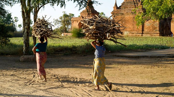 Farmers at work in Old Bagan, Bagan Region, Myanmar