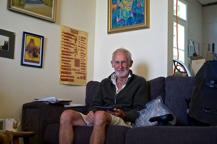 Stan Lusby at his cottage in Moeraki