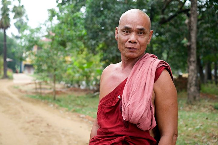 Buddhist Monk at the Monastery in Bago, Myanmar