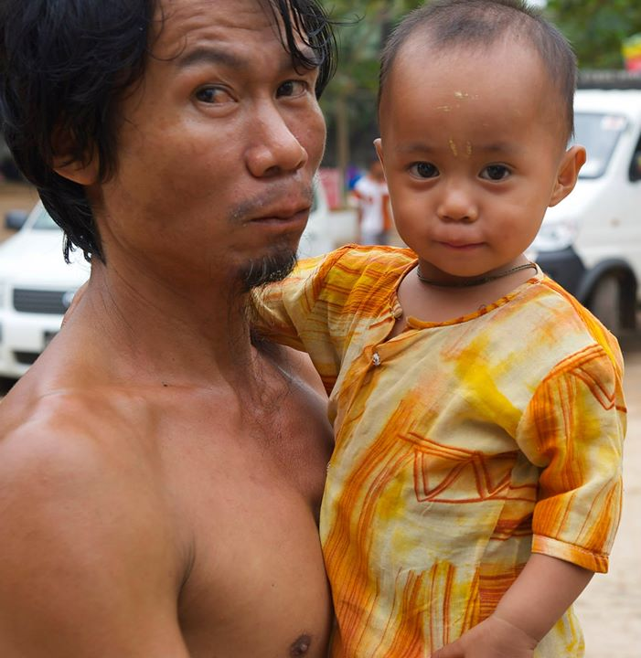 Burmese father and son in Bago, Myanmar