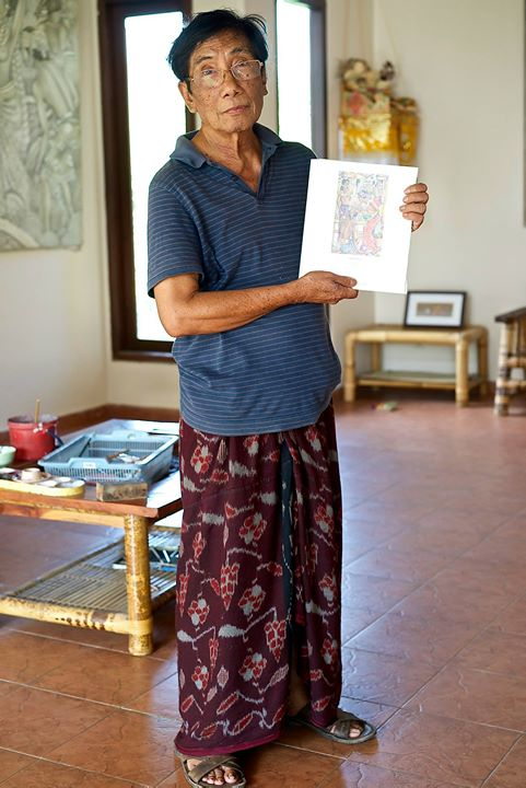 Balinese painter Jati I Ketut, at his home studio in Ubud, Bali