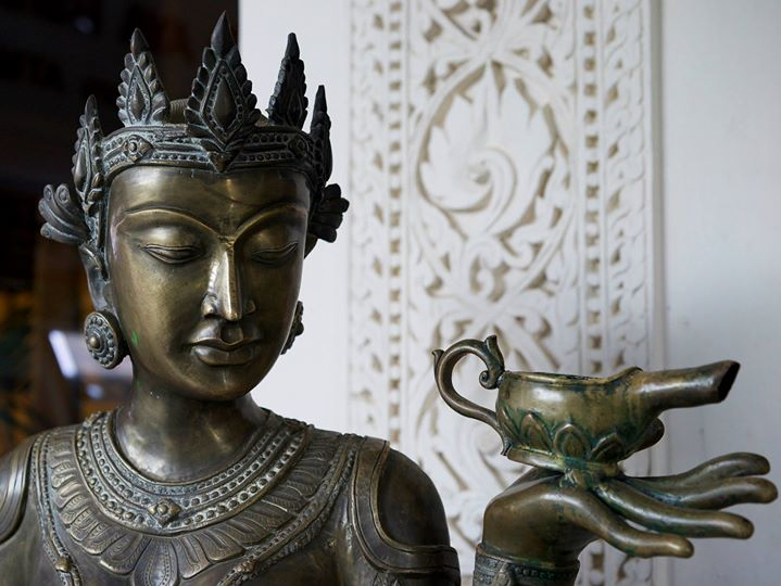 Bronze of a Kinnara dancer at the Amazing Bagan Resort in Nyaung-U, Bago Region, Myanmar