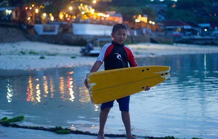 Young surfer at Jungutbatu Beach