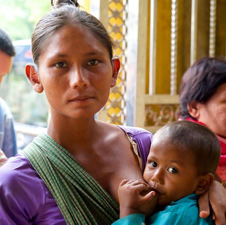 Mother with child, Yangon, Myanmar