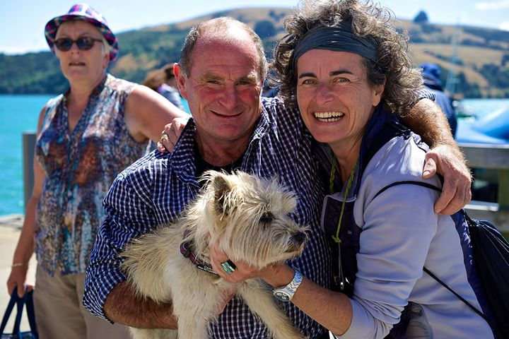 Tony the Captain, Fluffy the dog, and Rita at the Pier, Akaroa, South Island