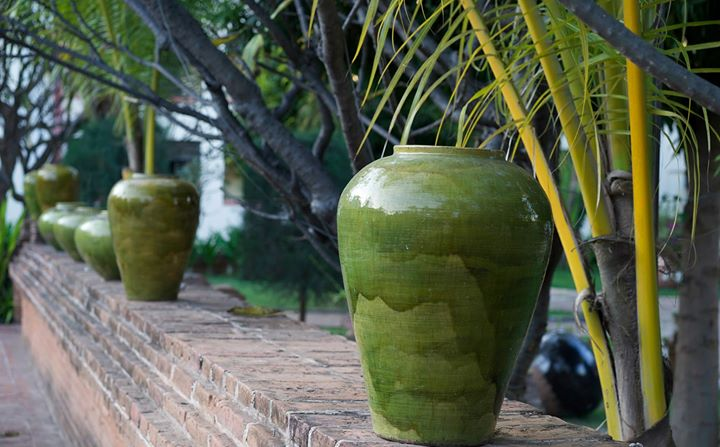 Burmese artcraft and bamboo at the Amazing Bagan Resort in Nyaung-U, Bago Region, Myanmar