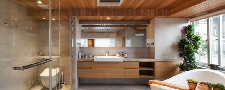 Techo de madera para baño moderno
