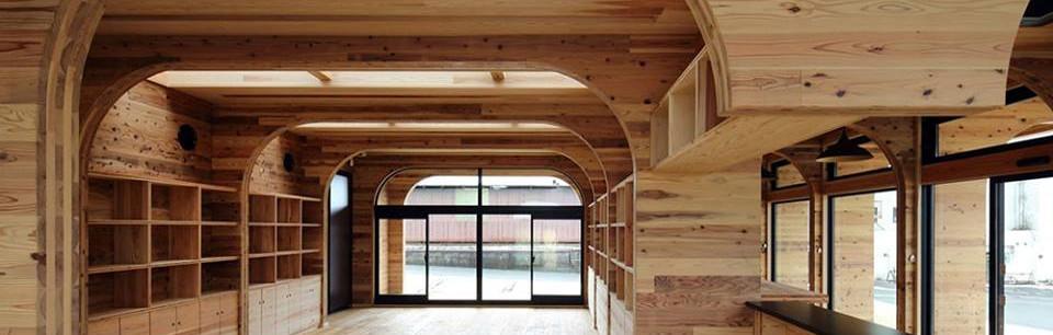 Interior sala con CLT visto