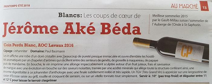 Le Régional - article de Jérôme Aké Béda sur le CP Johanniter de Paul Baumann