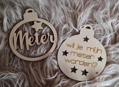 Set Houten kerstballen: Meter plus Wil jij mijn meter worden?