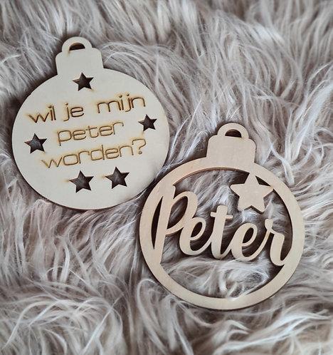 Set Houten kerstballen: Peter plus Wil jij mijn peter worden?